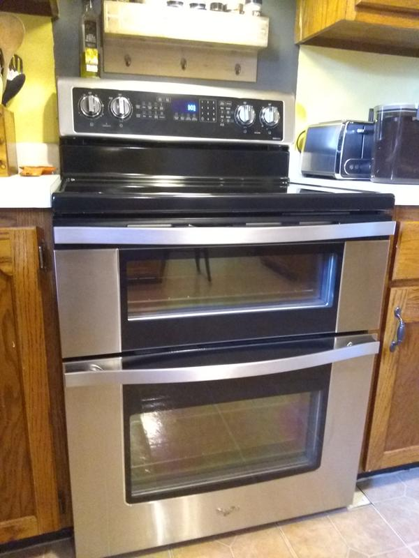 White Ice 6 7 Cu  Ft  Electric Double Oven Range with True