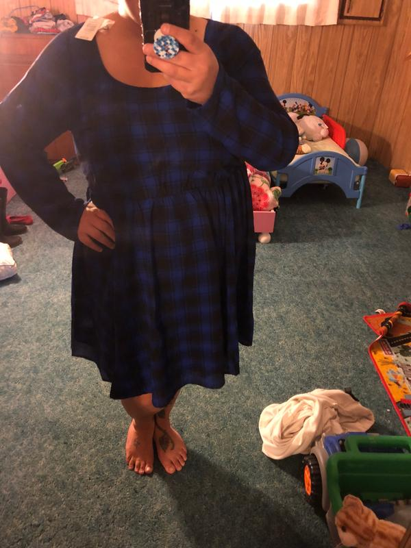 be4886e7f0a35 Blue Plaid Georgette Skater Dress