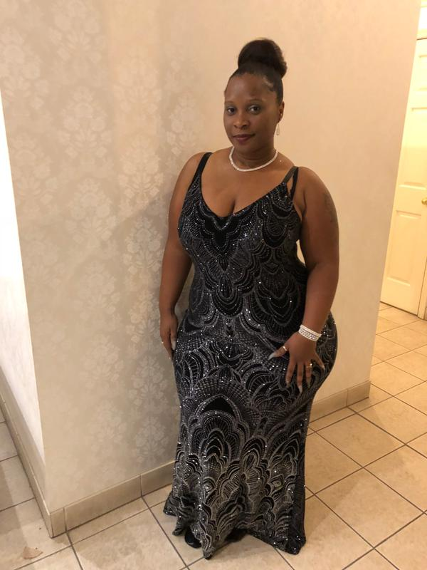 11cbaaed894 Black Glitter Design Maxi Dress