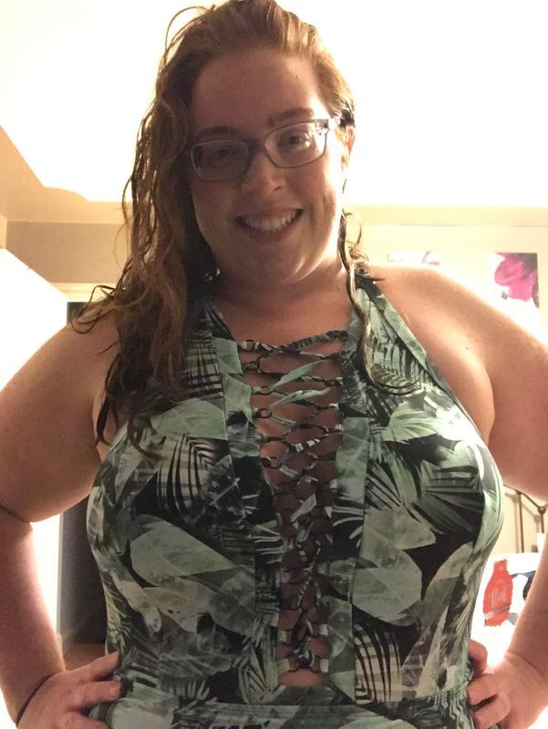 c92a105f2ee Palm Leaf Strappy Wireless Slim Fix One-Piece Swimsuit - Plus Size ...