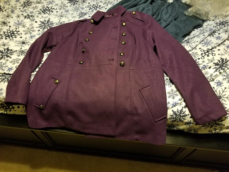 c507231dd90 Purple Double Breasted Military Coat
