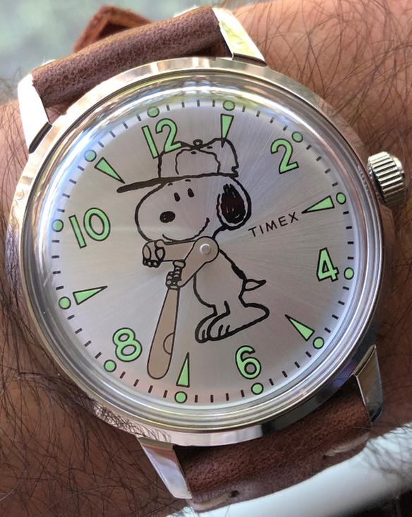 3450932be Welton Vintage Snoopy 40mm Leather Strap Watch | Timex