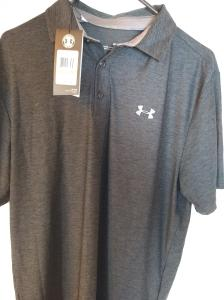 Men/'s Under Armour Playoff Polo  Gray White Striped  #1253479  Choose Your size