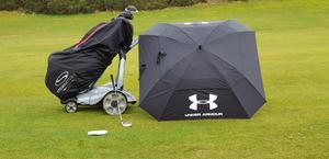 Out golfing in the rain in at Falkirk Golf Club Scotland