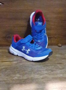 Sepatu Lari Pre-School UA Rave 2 NP AC, colour blue size 13