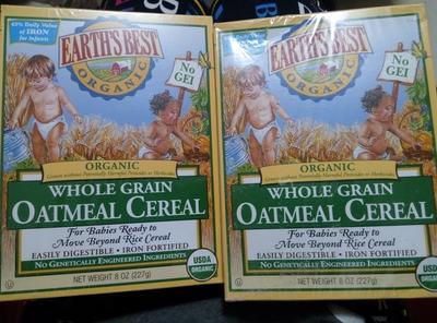 Earth S Best Organic Whole Grain Oatmeal Cereal 8 Oz Vitacost