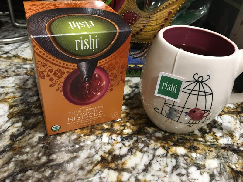 Rishi Tea Organic Herbal Tea Caffeine Free Blueberry Hibiscus 15
