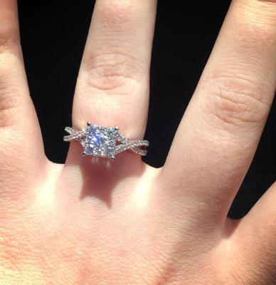 3 4 CT TW Diamond Cluster Criss Cross Shank Engagement Ring In