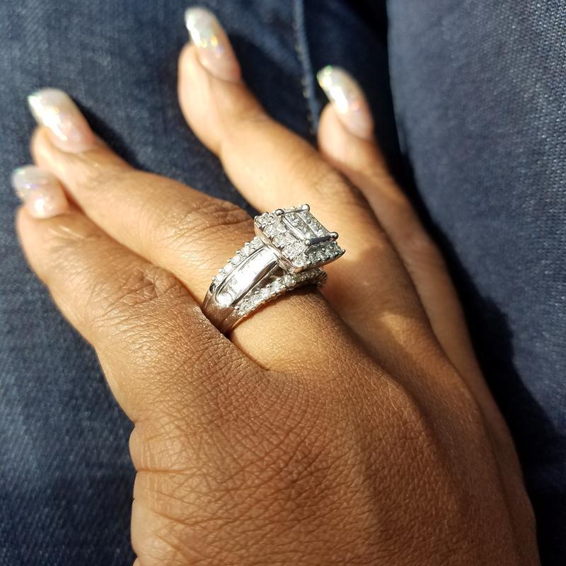 2 CT T W Quad Princess Cut and Baguette Diamond Engagement Ring