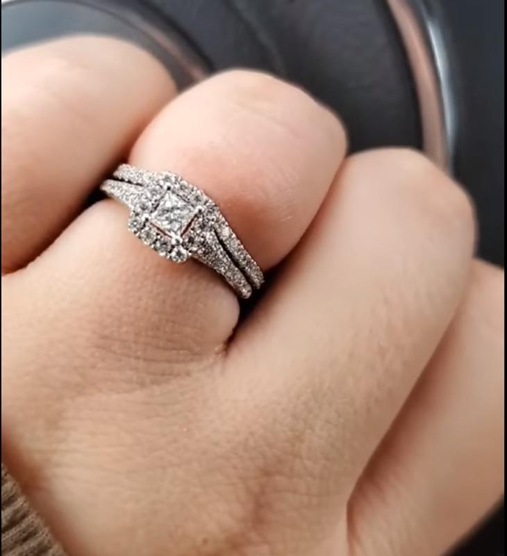 Enchanted Disney Tinker Bell 2.4 CT Princess Cut Diamond Engagement Ring Set