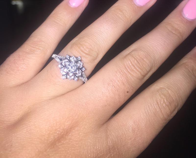 Enchanted Disney Elsa 5/8 CT. T.W. Snowflake Engagement Ring in ...