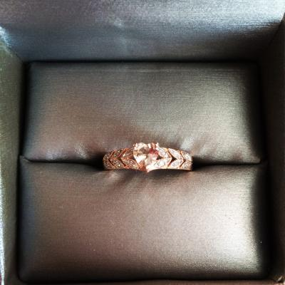 Heart Shaped Morganite and Diamond Accent Ring in 10K Rose Gold